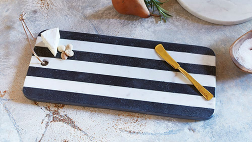 Set of 2 Marble Cheese Board Black & White by AT001