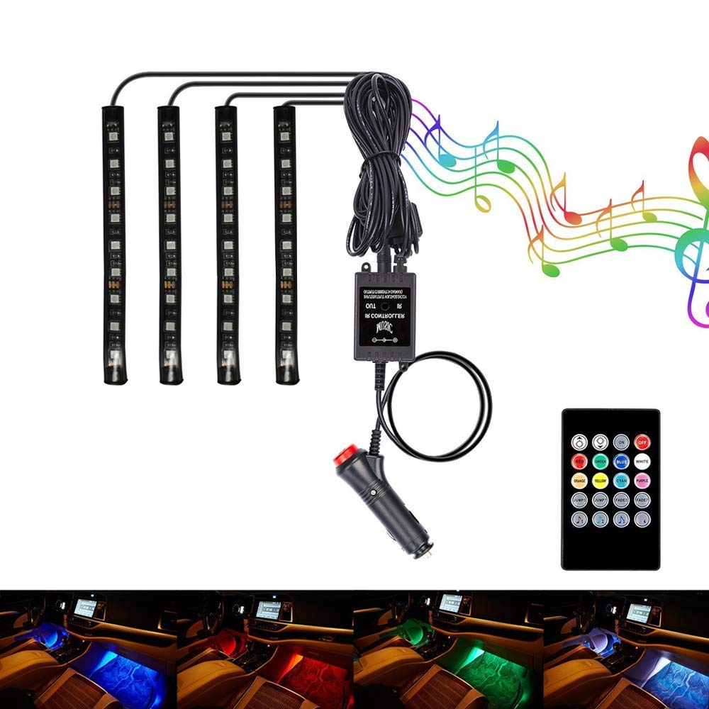 4pcs 72 LED DC 12V Multicolor Music Car Interior Light LED Under Dash Lighting Kit with Sound Active Function and Wireless Remote Control 72 LEDs Car Charger Included HOCOLO Car LED Strip Light