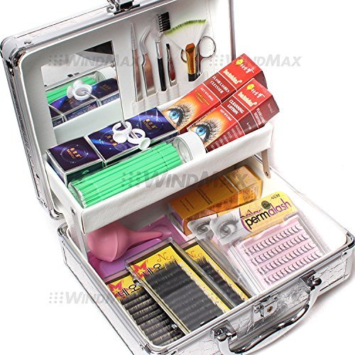 19 in 1 Professional Eyelash Extension Korean Mink False Eye Lash Graft Individual Lashes Extension Pad Ring Glue Removal Remover Full Kit Super Set with Fashion Hard Case Suitcase