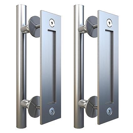 Stainless Steel Flush Pull Handle Set for Sliding Barn Door Hardware