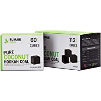 FUMARI Fuoco Pure Coconut Charcoal Supplies for HOOKAHS–112pc Non Quick Light Shisha coals for Hookah Pipes. All Natural Coal Accessories & Parts That are Tasteless, Odorless, Chemical Free (112)