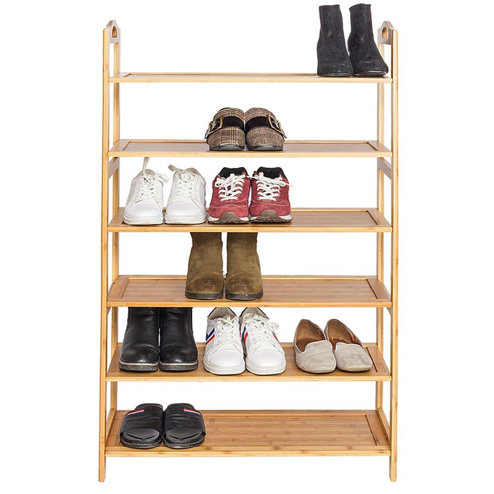 Bonnlo Multi-function Bamboo Wood 6-Tier Shoe Rack, Holds 18 Pairs, Home Storage Shelf Rack, Plant Stand,Shoe Shelf Storage Organizer for Entryway Bathroom Kitchen
