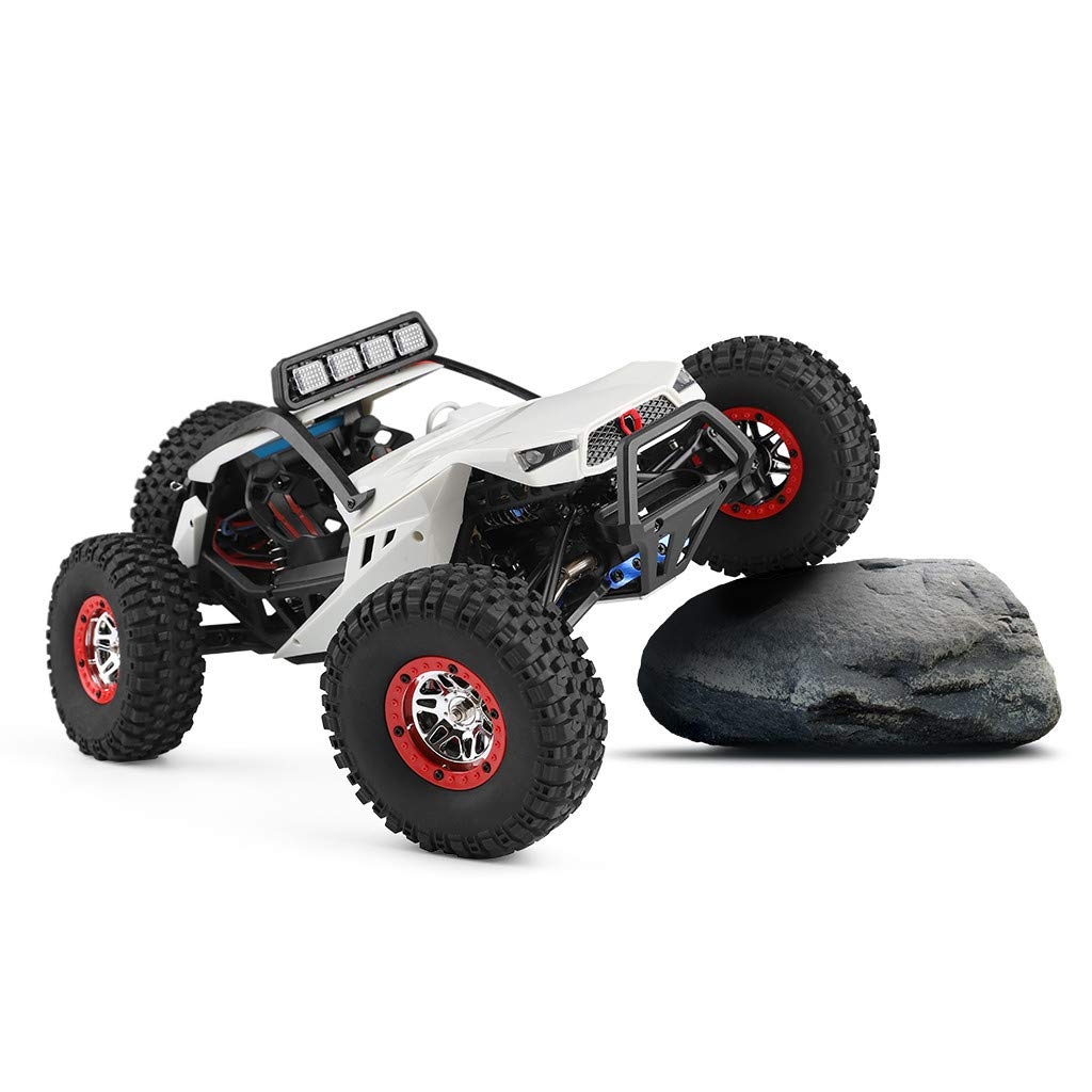 Auvem RC Electric Car, 1:12 Crawler 4WD 2.4G Electric Car with LED Lights RC Off-Road Radio Remote Control Truck, High Speed Racing Monster Truck Hobby Rock Crawler Toy (White) by Auvem (Image #3)