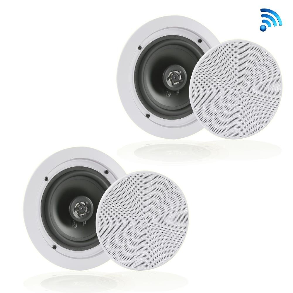 Pair of Dual 8'' Bluetooth Ceiling / Wall Speakers, 2-Way Flush Mount Home Speakers