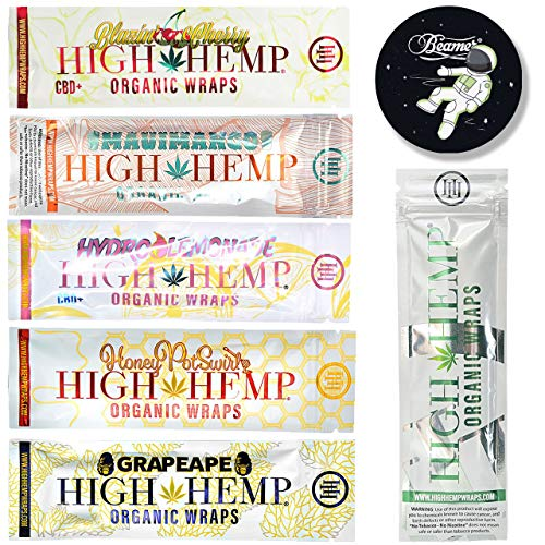 k of Organic Wraps - Tobacco Free, Vegan, Non-GMO - 5 Packs Each of 5 Flavors - Grape Ape, Honey Pot Swirl, Maui Mango, Original, Hydro Lemonade + Beamer Smoke Sticker ()