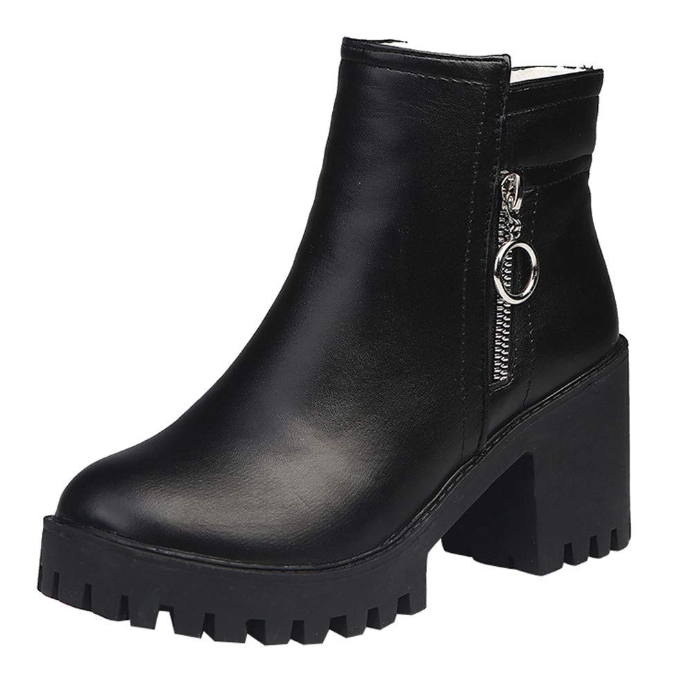 Cywulin Women's Snow Ankle Bootie, Ladies Velvet Winter Short Round Toe Dress Suede Boots Mid Heel Chunky Zip Up Shoes