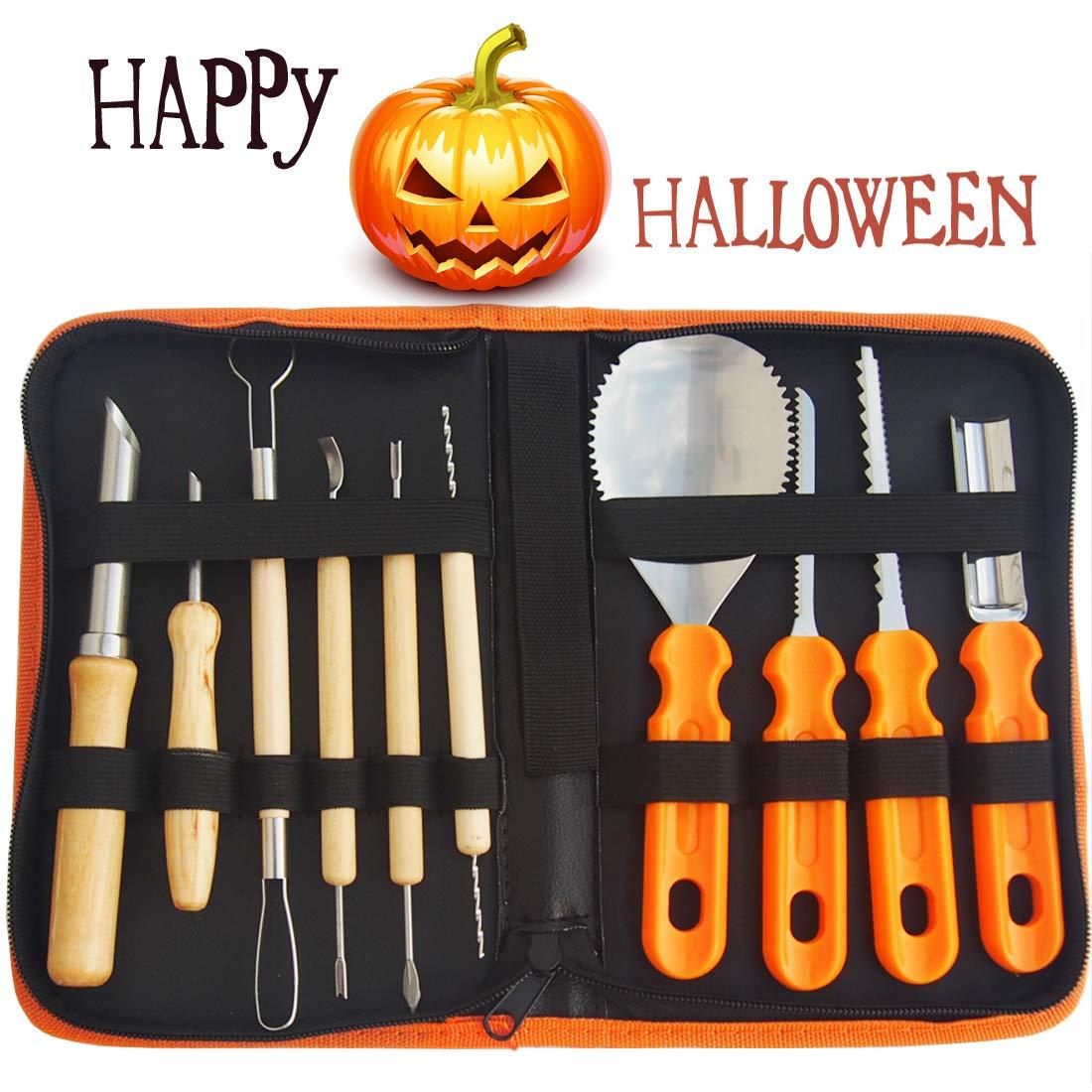 Gven Pumpkin Carving Kit- Pumpkin Carving Tools Jack-O-Lanterns Sculpting Set- 14 Cuts, Scoops, Scrapers, Saws, Loops- Halloween Tools