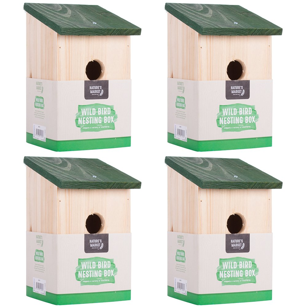 4 x Traditional Garden Shed Wooden Wild Bird Nesting Birdhouse Box Robin Bluetit Kingfisher