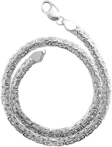 Unisex Sterling Silver Square Byzantine Necklace-20 12 Long