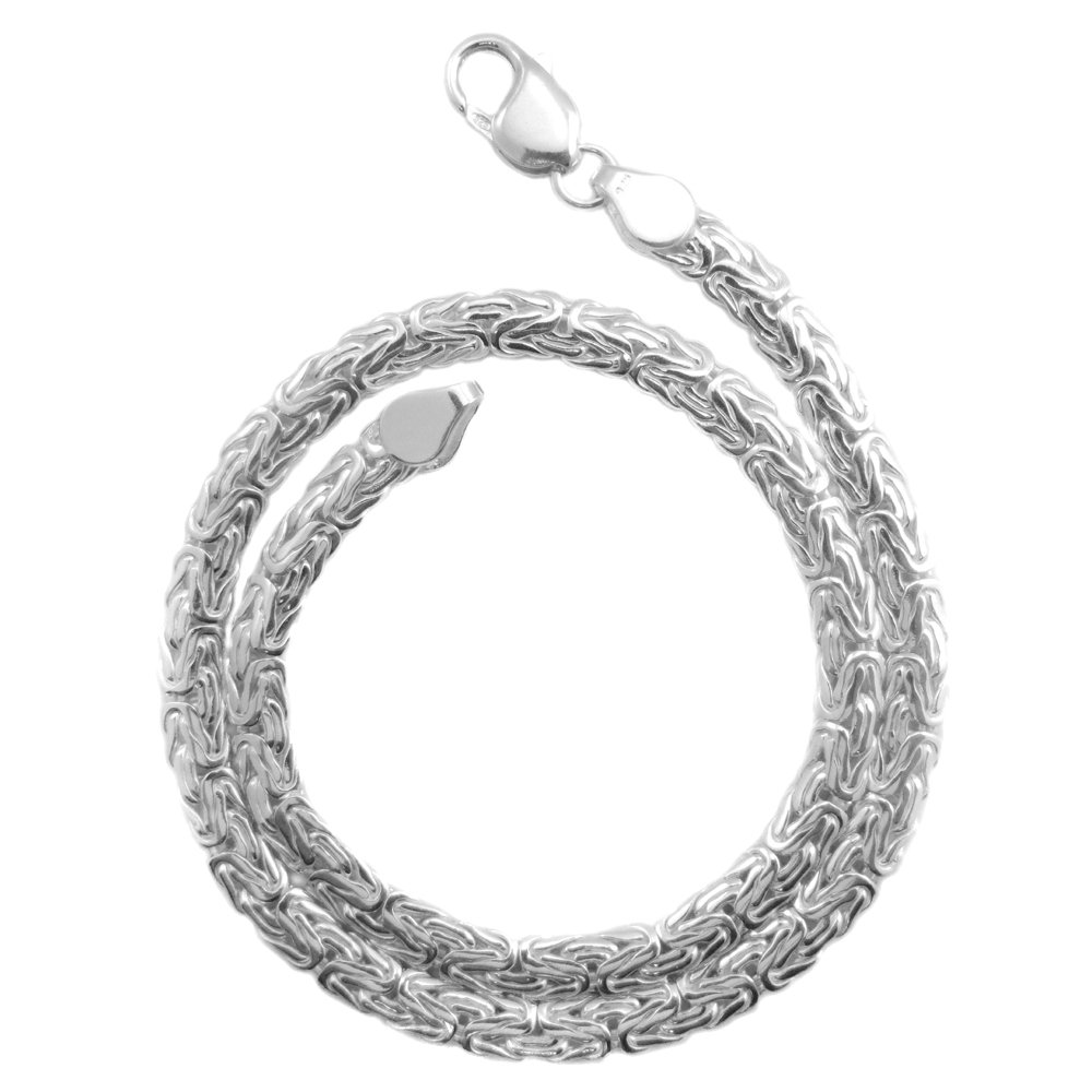 Byzantine Necklace 6mm Thick Solid .925 Sterling Silver Chain. 16,18,20,30 Inches (18 Inches)