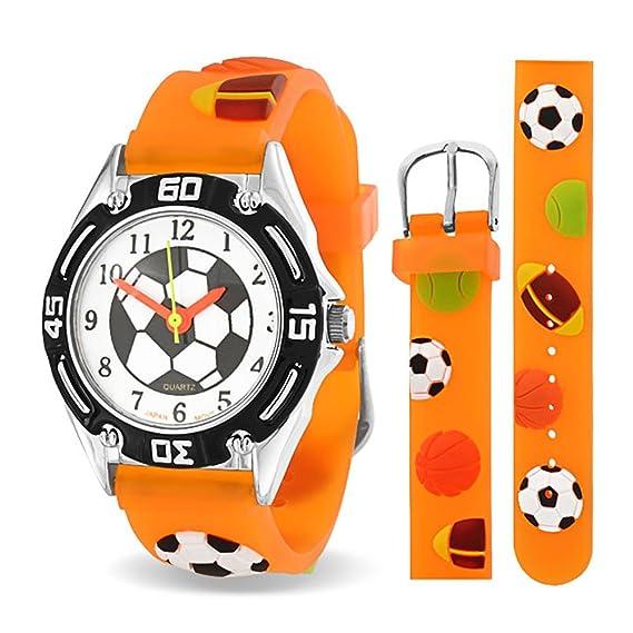 Bling Jewelry Reloj Naranja Analógico para Niños Acero Inoxidable con Diseños de Pelotas de Deportes: Amazon.es: Relojes