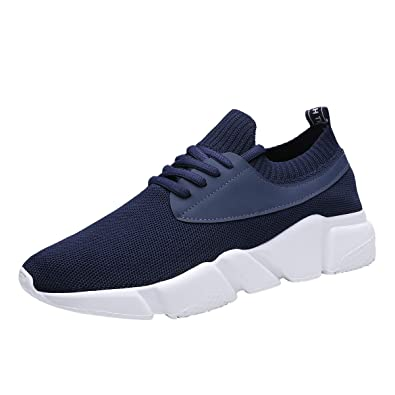 b07455956f8 Mevoit Men s Running Shoes Fashion Breathable Sneakers Mesh Soft Sole Casual  Athletic Lightweight Walking Footwear 1022Blue44