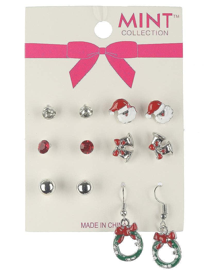 Multi christmas studs 6 pair earring Fashion Jewelry FancyCharm