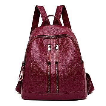 Shisky Mochila de Cuero para Mujer,Mujer Mochila de Viajes de Mujeres Pack Simple Mochila de Moda 29x15x30cm: Amazon.es: Hogar