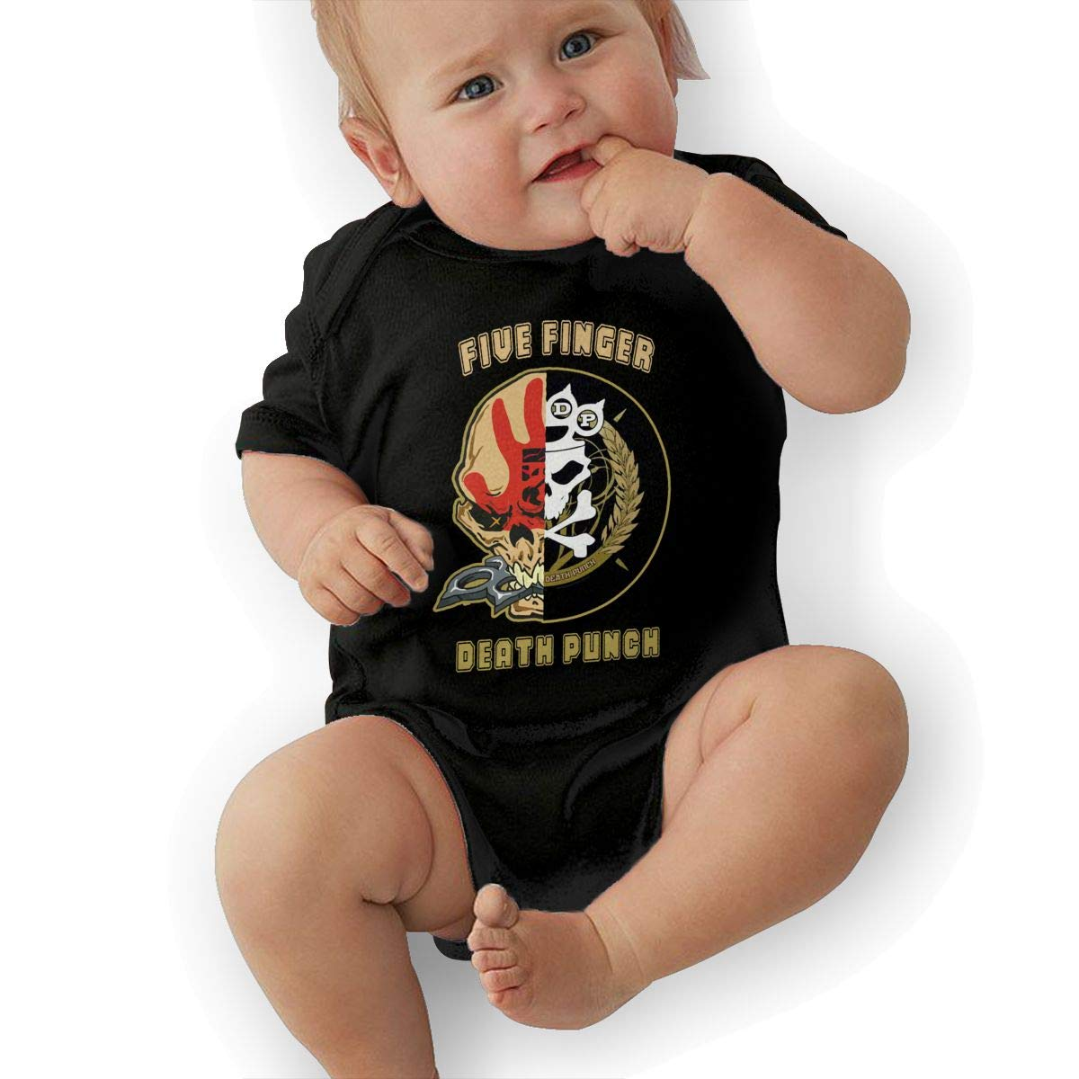 LuckyTagy Five Finger Death Punch Badge Logo Unisex Cool Newborn Baby Romper Baby BoyTank Tops Black