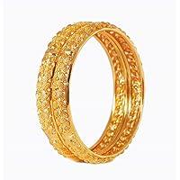 AFJ Gold 1 Gram Gold Plated Traditional Designer Plain Bangles Sets for Women & Girls (2.6)