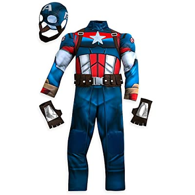 Marvel Captain America Costume for Kids Size 5/6 Blue: Clothing