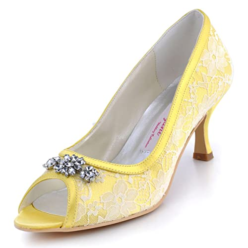 ElegantPark Women Peep Toe Pumps Mid Heel Rhinestones Lace Satin Prom Evening Wedding Shoes