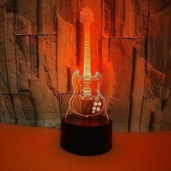 3D Luz Nocturna ilusión Optica Lámpara 7 Colores Cambiantes guitarra USB Power Juguetes Decoración Navidad Cumpleaños