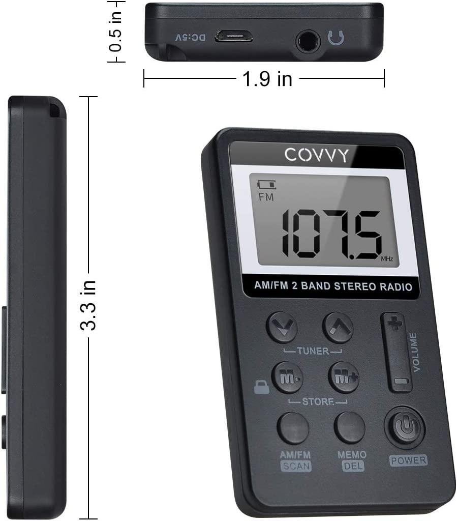AM FM Pocket Radio Covvy Portable Digital Tuning AM//FM Mini Stereo Radio Player with Rechargeable Battery and Earphone for Outdoor Walk Black Black