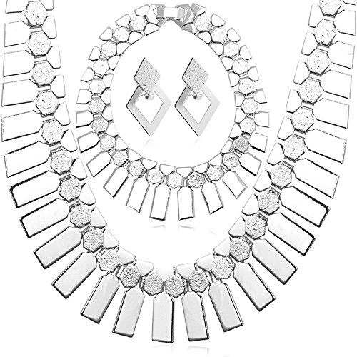 - U7 African Jewelry Set Platinum Plated Chunky Chain Necklace Bracelet Earrings