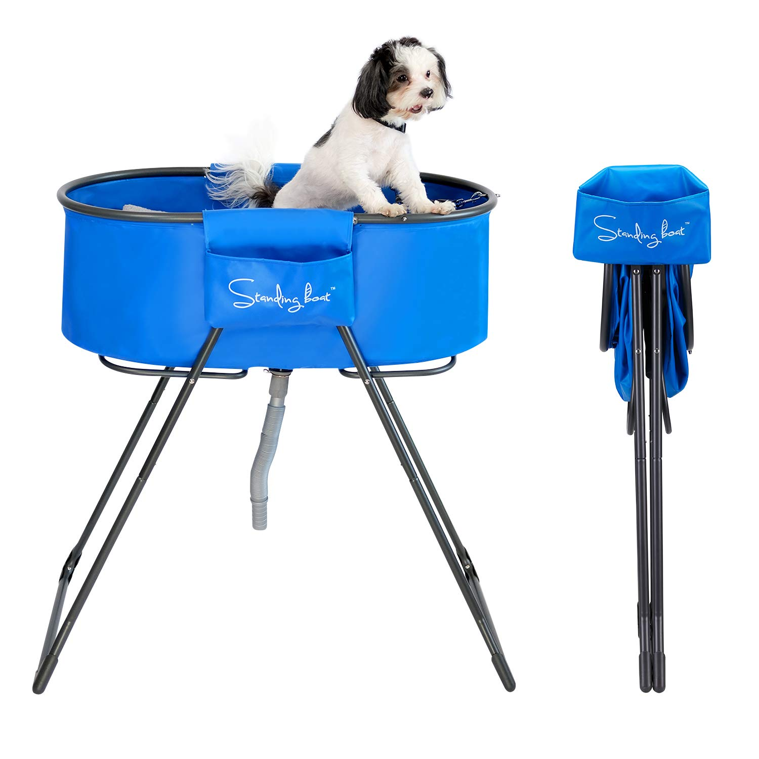 Standing Boat Elevated Folding Pet Bath Tub and Wash Station for Bathing, Shower, and Grooming, Foldable and Portable, Indoor and Outdoor, Perfect for Small and Medium Size Dogs, Cats and Other Pet
