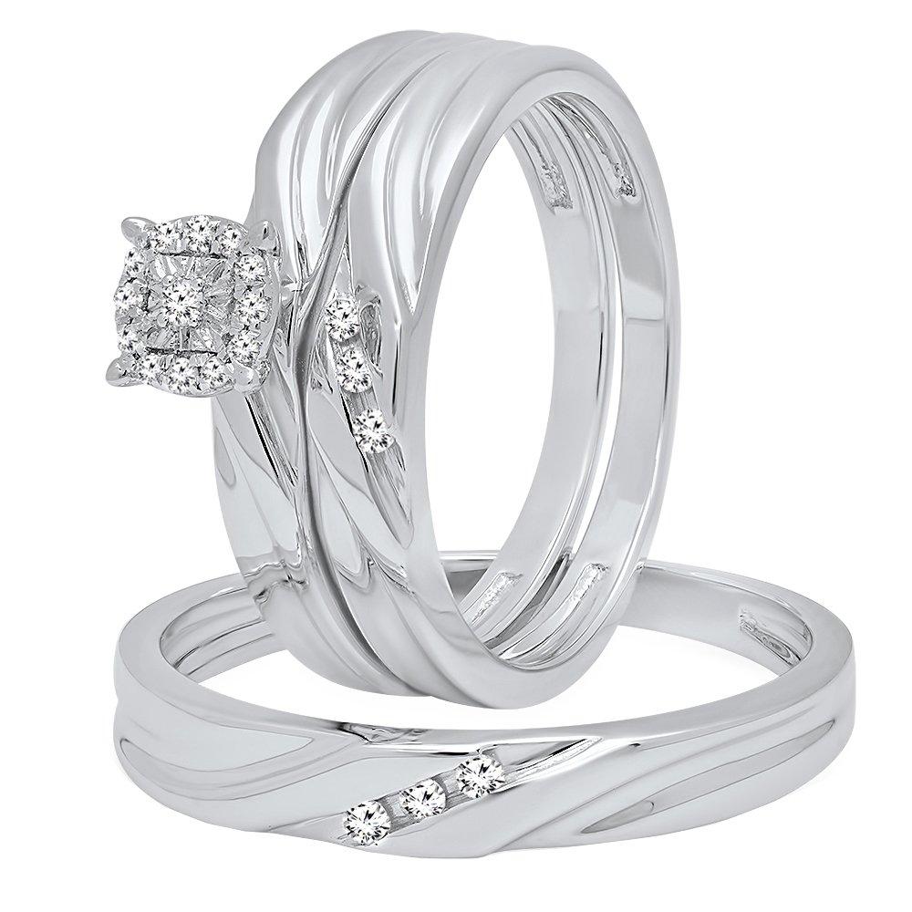 0.15 Carat (ctw) Sterling Silver Round White Diamond Men & Women's Engagement Ring Trio Bridal Set