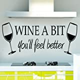 Soooku Morden Vinyl WINE A BIT you'll feel better Quote Letter Wall Sticker Decal Home Arts Dinning Kitchen