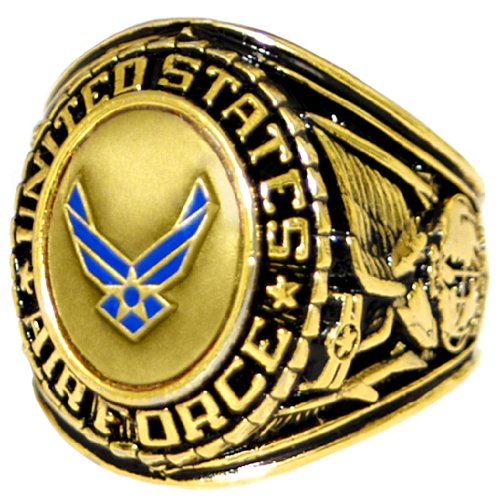 US Air Force Insignia Ring - Bronze Colored Air Force Veteran Ring - Military Collectibles (Us Air Force Ring)