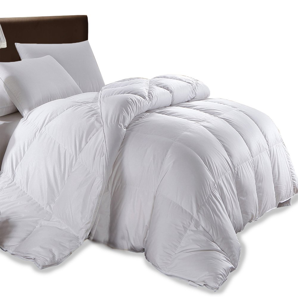Duvet Insert Down Comforter White Goose Down Comforter White Quilted Comforter California King All Season Blanket Natural Goose Down 100% Cotton Cover 600TC 800FP by (King) MRNIU