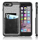 iPhone 7 Plus Case,iVAPO iPhone 7 Plus Cover [Poker Series] Genuine Leather Pocket iPhone Cases for iPhone 7 Plus 5.5inch Phone Case [Black]