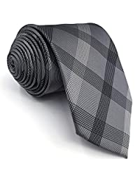 S1 Shlax&Wing Extra Long Size Checked Gray Mens Neckties Ties 100% Silk 63""