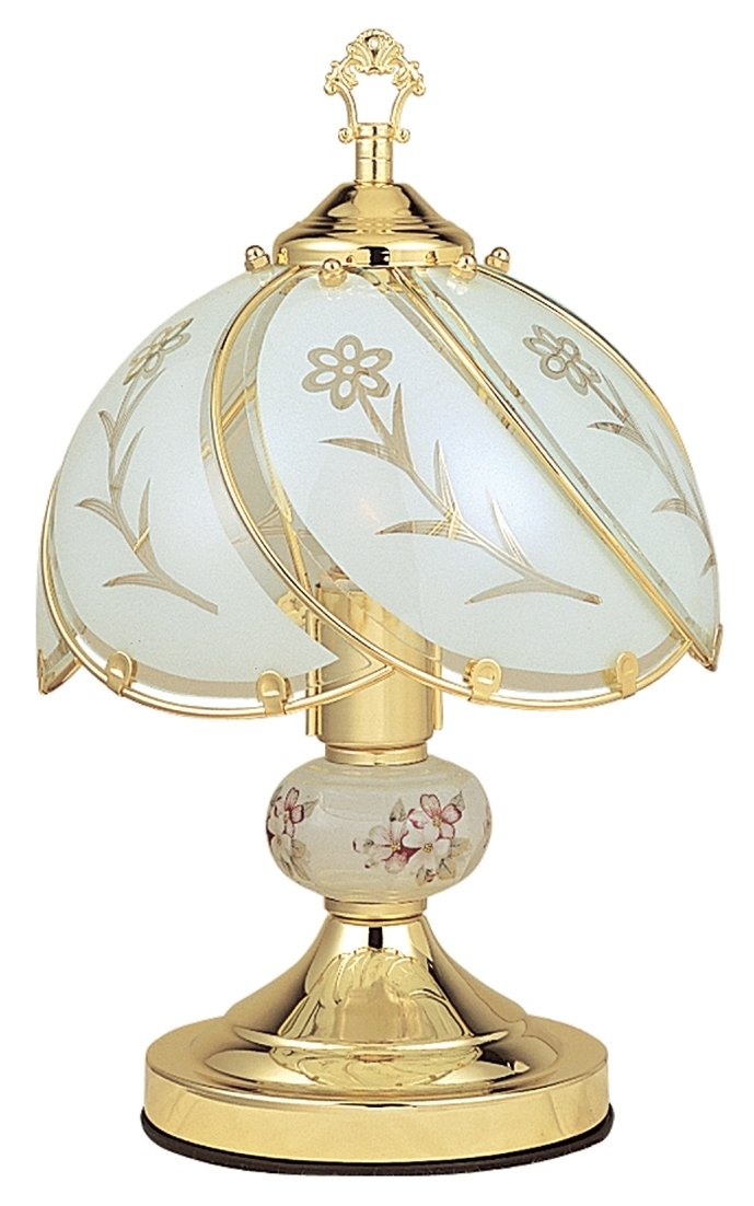 ORE International K313 White Glass Floral Touch Lamp, Brushed Gold   Table  Lamps   Amazon.com