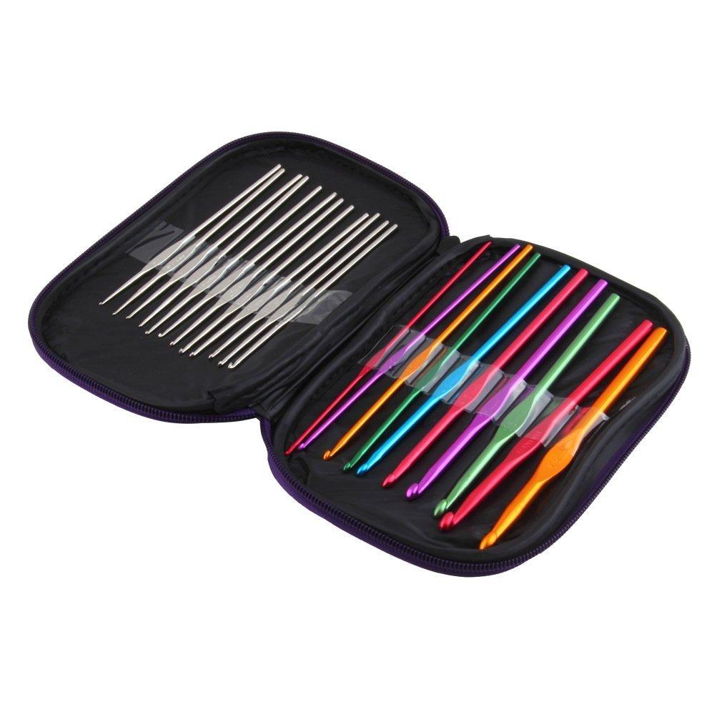 Juego de agujas de tejer de ganchillo de aluminio multicolor, 22 unidades Ndier