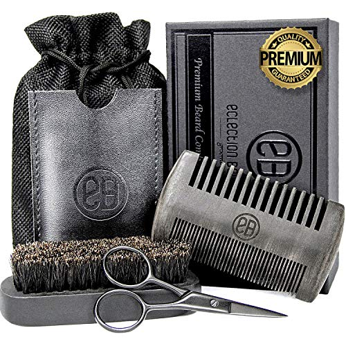 Beard Comb & Beard Brush Set, Natural Boar Bristle Brush, Anti-Static Black Sandalwood Comb with PU Leather Case, Beard Trimming Scissors, Linen Pouch Bag, Gift Box Set for Men's Beard Grooming Care