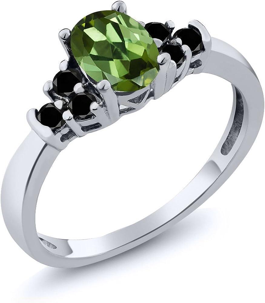 Gem Stone King 1.32 Ct Round Green Peridot Red Garnet 18K Yellow Gold Plated Silver Anniversary Ring