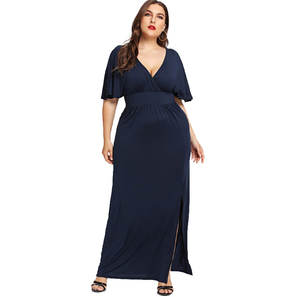 1afdb64859 ESPRLIA Women s Empire Waist Short Sleeve Plus Size Maxi Casual Dress with  Belts at Amazon Women s Clothing store