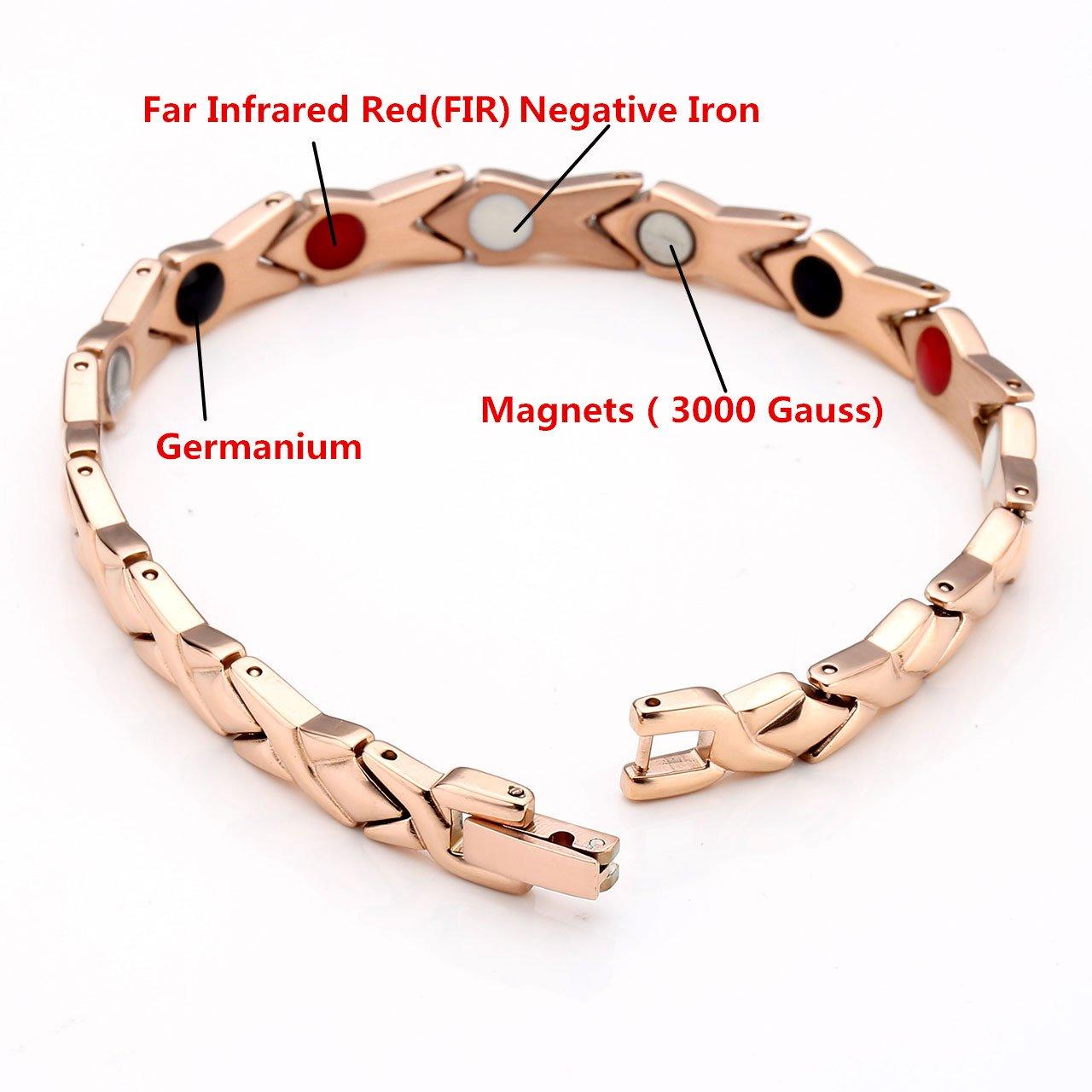 Zysta Bracciale Unisex Braccialetto della salute Anti-fatica 4 in 1 magnetico ioni negativi infrarossi germanio in Acciaio Inossidabile - Oro