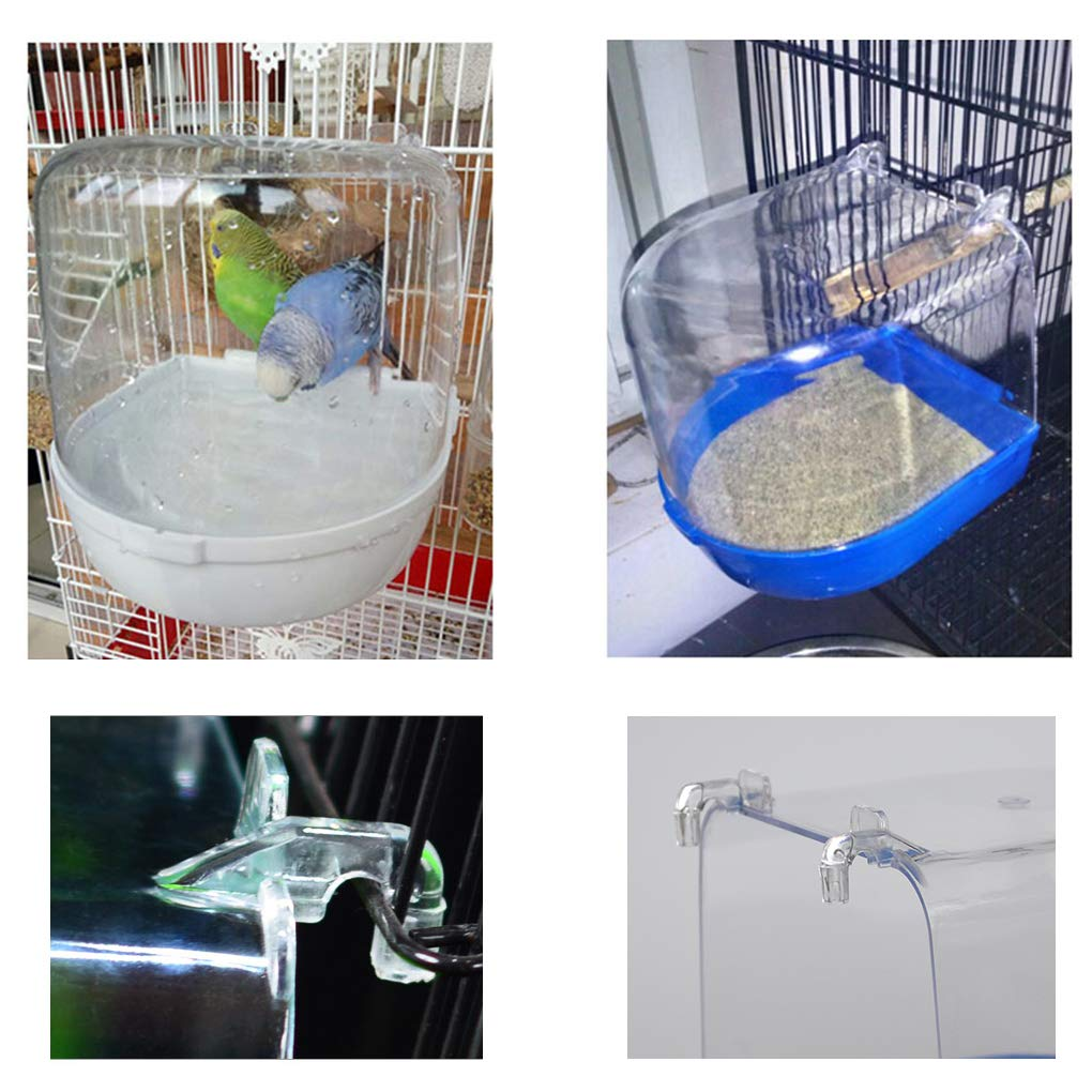 Junecat Birds Bathtub Shower Box Parrot Cleaning Bathing Hanging Tub Cage Accessories Pet Wash Supplies