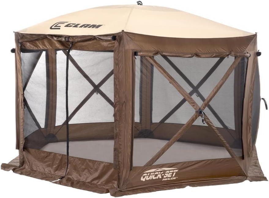 Quick Set 9882 Pavilion Pop Up Shelter, 150 x 150, Brown Tan