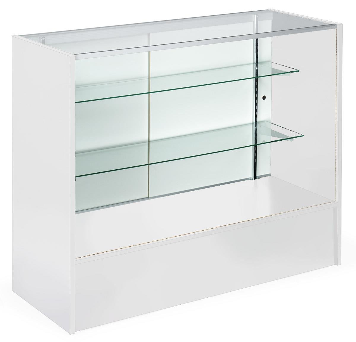 Displays2go Retail Counter with Glass Shelves, Melamine Panels, Anodized Aluminum, Sliding Doors – White, Clear (MRC4WHTKD)