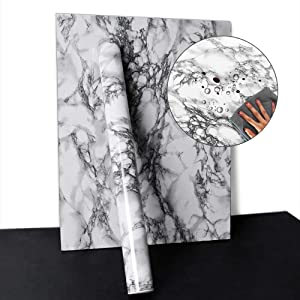 """YENHOME Faux Countertops Peel and Stick 24"""" x 196"""" Landscape White Marble Contact Paper for Cabinets Cover Shelf Liner Self Adhesive Wallpaper for Bathroom Wall Decor Vinyl Film"""
