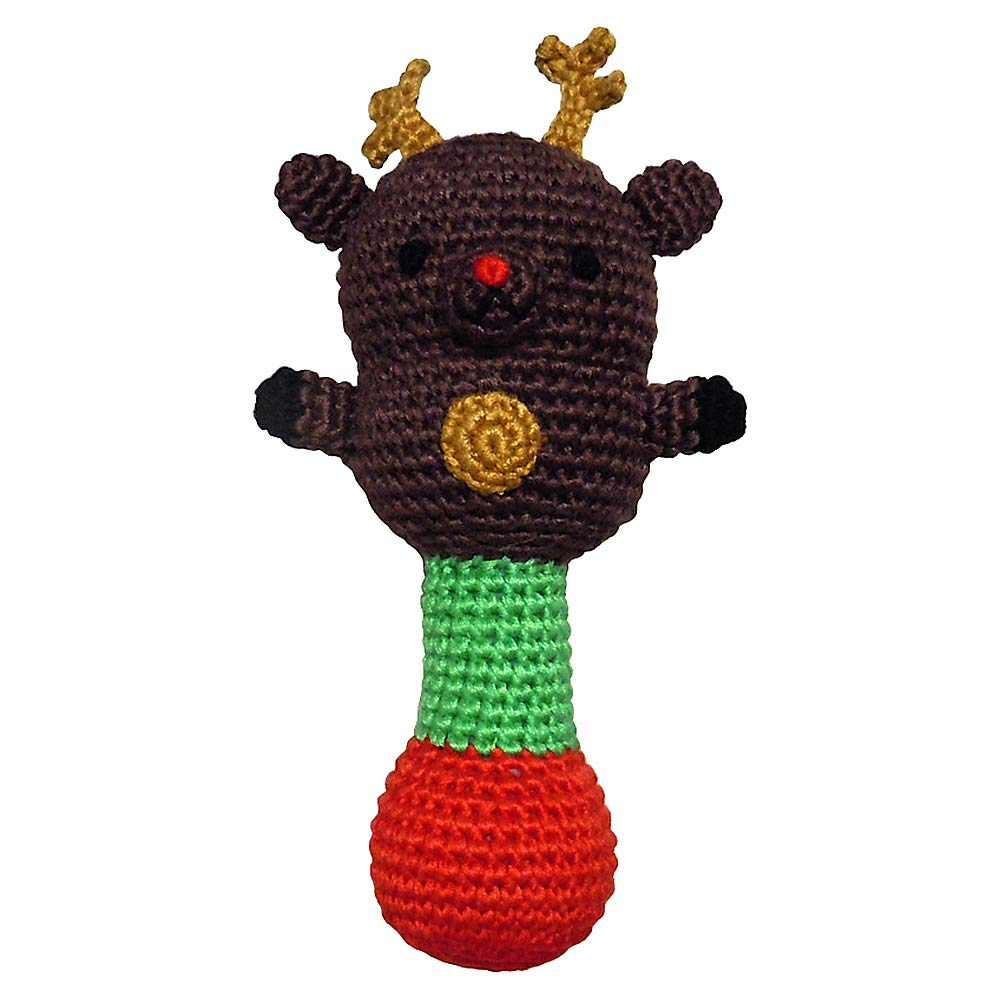 Baby Rattle - Reindeer Brown - Soft, Charming and Cuddly, Hand Crocheted with Organic Bamboo Viscose Yarn - KidStyle by Amikins. by Amikins   B00XTVU6K6