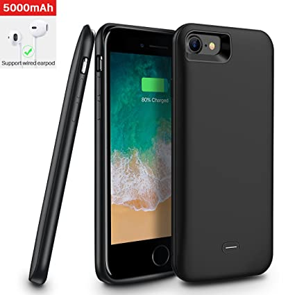 premium selection 2c892 f9438 iPhone 7/iPhone 8 Battery Case,[5000mAh] iPhone7/iPhone8 Protective  Extended Battery Case,Portable Rechargeable Protective Charging Case Slim  for ...