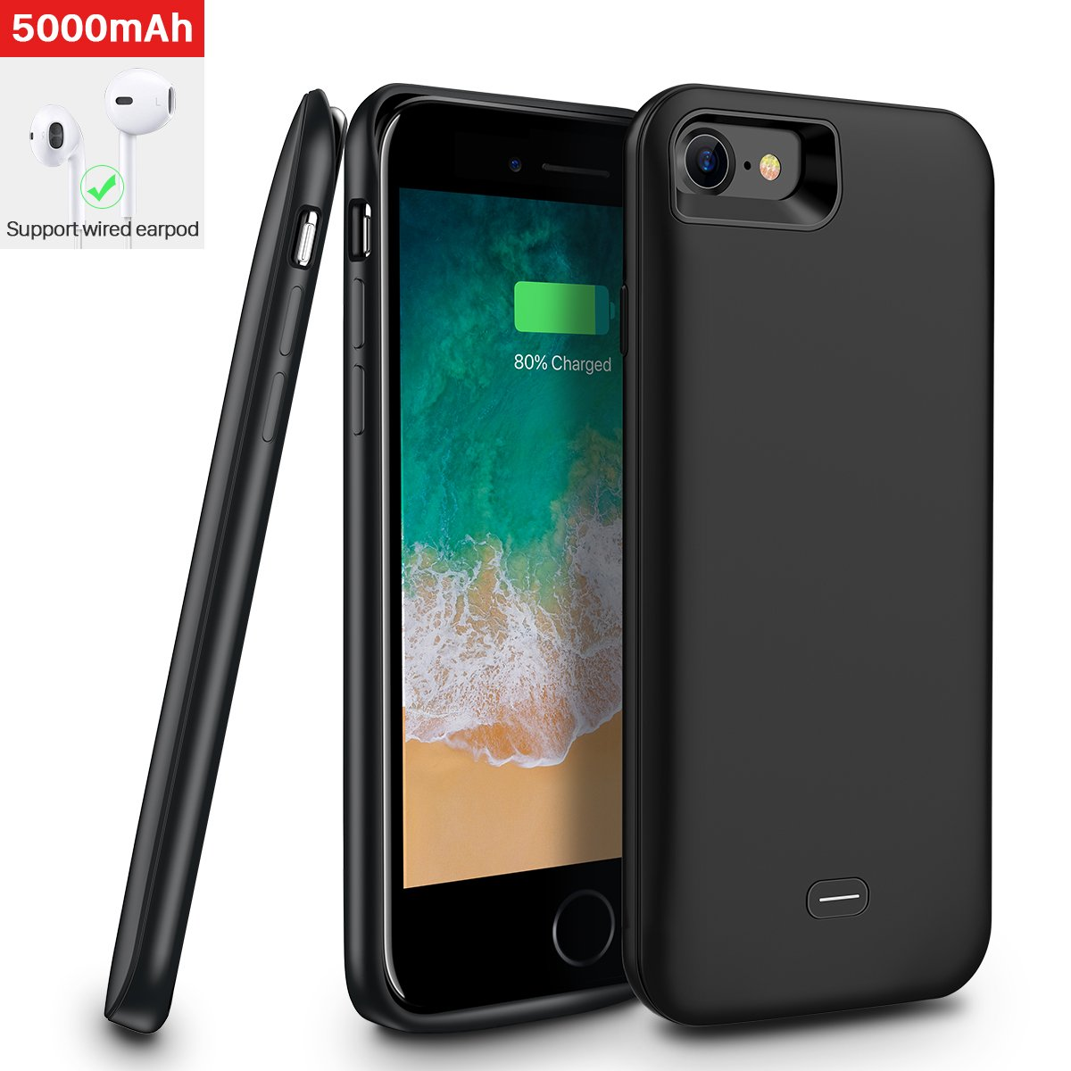 iphone 7/iphone 8 Battery Case,[5000mAh] iphone7/iphone8 protective battery case,Portable Rechargeable Protective Charging Case Slim for Apple iphone 7/8,Support Lightning Earphone(Black)