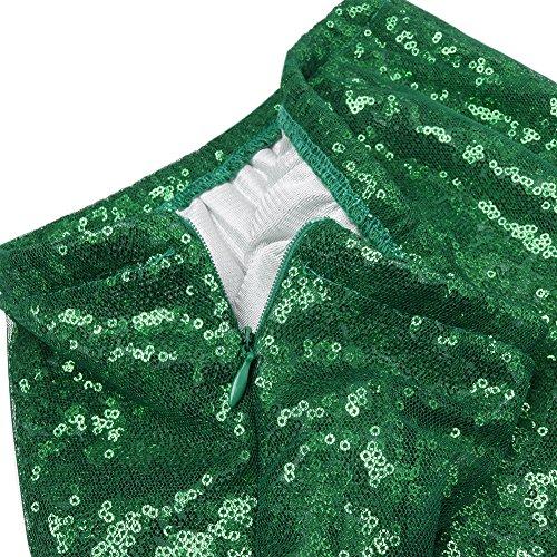 TiaoBug Femmes dames Paillette élégante Jupe Maxi Jupe Robe Party Photographie Fishtail Cérémonie Noël #S-2XL - Vert