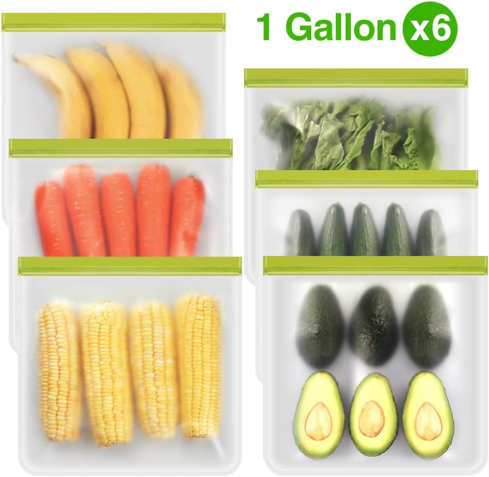 Reusable Gallon Freezer Bags - 6 Packs, Reusable Freezer Bags Easy Seal & Leak-Proof, BPA-FREE PEVA Washable Freezer Bags for Marinate Meats, Fruit, Cereal, Sandwich, Snack, Travel Items, Meal Pre