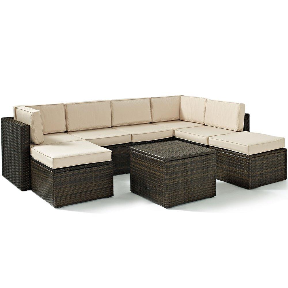 amazoncom crosley furniture palm harbor 8 piece outdoor wicker seating set brown garden outdoor - Garden Furniture 8 Piece