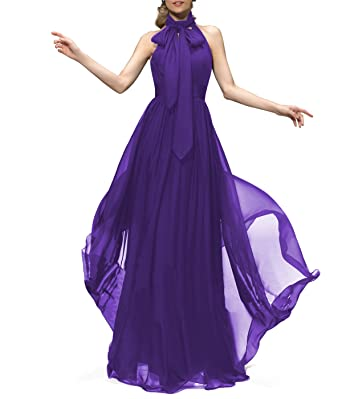 Yilisclothing Womens Elegant Halter Chiffon Bridesmaid Dress Off Shoulder Formal Long Prom Gowns Purple US2