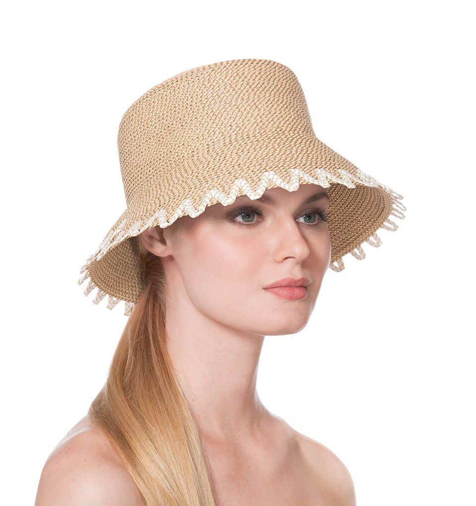 Eric Javits Luxury Fashion Designer Women's Headwear Hat - Eloise - Peanut Mix by Eric Javits